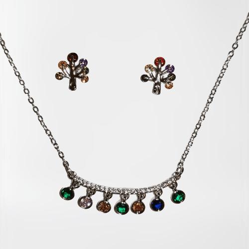 Conjunto colgante y pendientes cristales multicolor (Gold Filled)