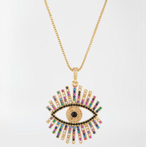 Colgante ojo turco circonitas (baño de oro)